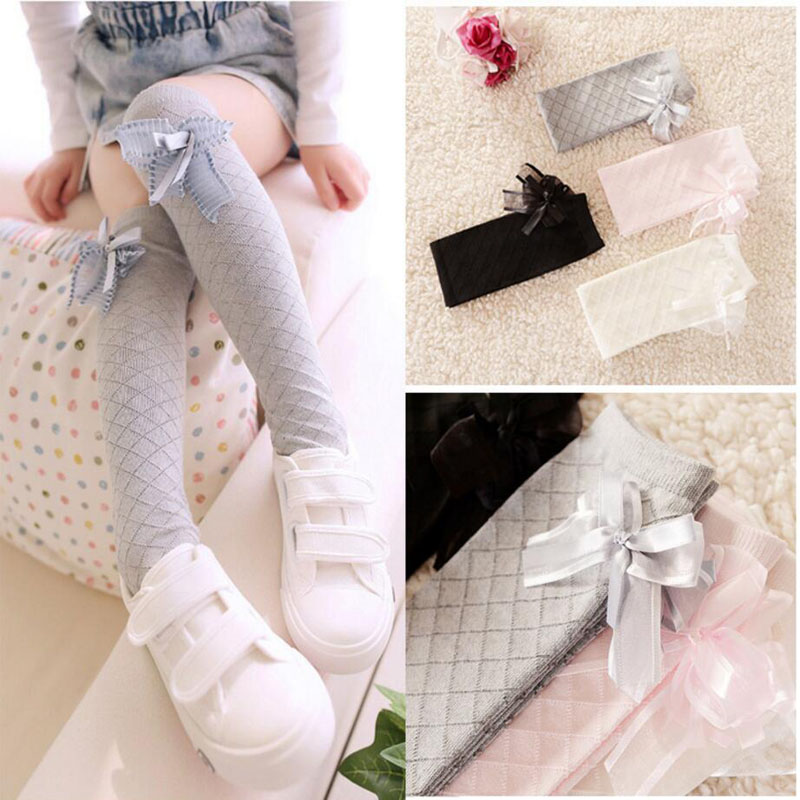 Toddlers Girls Long socks Lovely Baby Kids Bowknot Cotton Plaids Socks School girls High Knee legwarmer for 3~8 Years