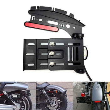 Motorcycle Telescopic Folding LED Light Side Mount License Plate Holder For Harley Fat boy Dyna Sportster XL 883 1200 48 72