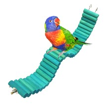 Birds Pets Parrots Toys Ladders Climbing Toy With Natural Wood Building Blocks Chew Bite-resistant Pet Toys Hanging Parrot Cage(China)