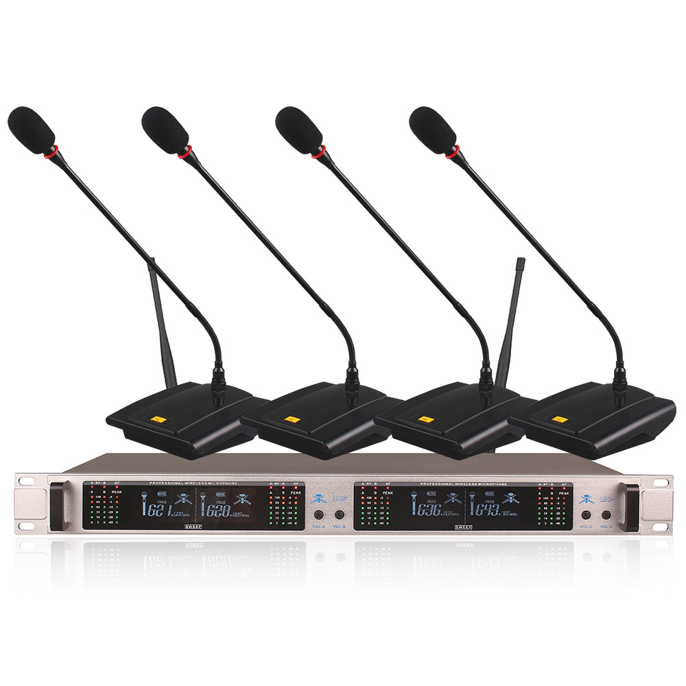 Professional Wireless Microphone System 406GT 4-Channel UHF Dynamic Professional 4 Headphones Collar Line Conference
