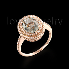 Natural 8x10mm Oval Cut Green Amethyst Jewelry 14K Rose Gold Ring For Girls Party  R0014