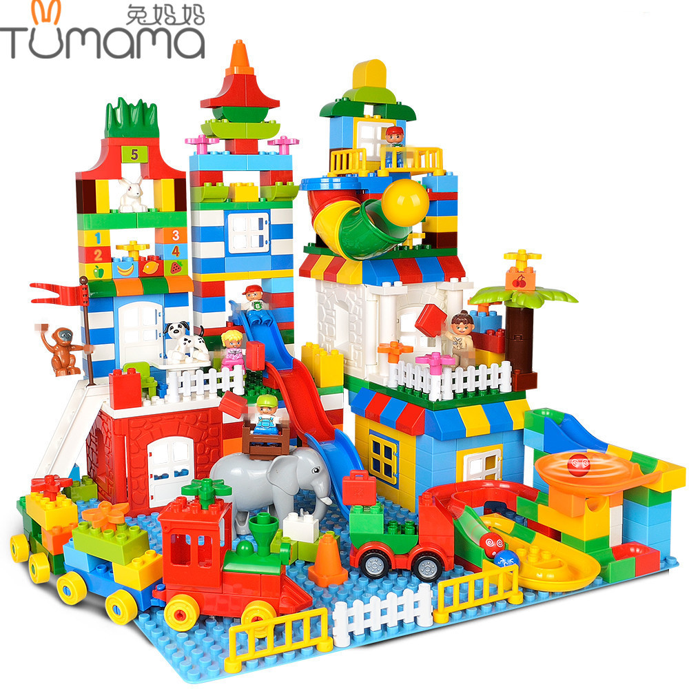 Tumama 225PCS Big Size Building Blocks Colorful Number Train Bricks DIY Compatible Legoed Duploe Educational Toys For Children big bricks building blocks base plate 51 25 5cm 32 16 dots baseplate diy bricks toy compatible with major brand blocks