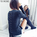 YI-NOKI Fashion Autumn Winter Sweater Round Neck Long Sleeves Back Bandage Sweater Solid Casual Pull Femme Pullover Women Tops