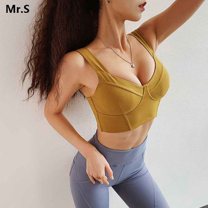 Women Anti-sagging Sports Bra Crop Top Sexy Gym Cropped Top Fitness Yoga Bra Padded Push Up Sports Bra Fitness Workout Shirts 1