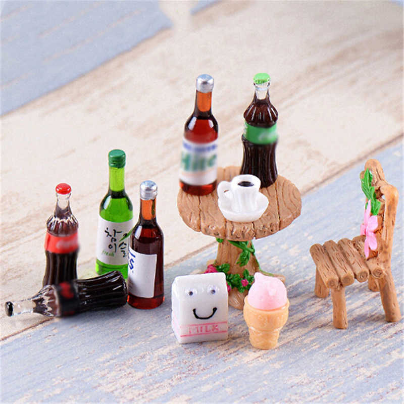 5PCS Mini Beer Drinks Milks Dollhouse Miniature Realistic Shape Mini Home Craft Ornament Shadowbox DIY Landscaping Decor for Kid