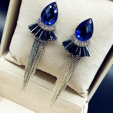 Charmcci New Arrival Unique Crystal Long Leaf Drop Earrings Fashion Jewelry Holiday Gifts For Women Wholesale and Retail