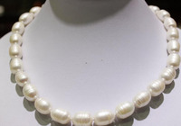 Miss charm Jew1796 Natural White Rice Beautiful Big pearl necklace 10x14mm 12x15mm17.5INCH AAA