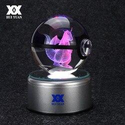8 سنتيمتر دراغونيت ثلاثية الأبعاد كريستال الكرة بوكيمون الذهاب ضوء كرة زجاجية النقش الجولة مع خط أسود الكرة LED الملونة قاعدة الطفل هدية