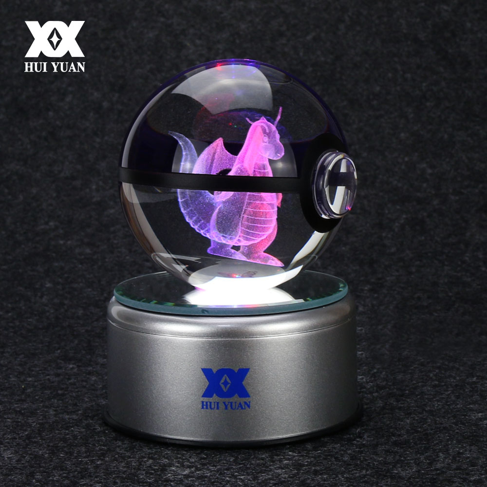 8 cm Dragonite 3D Crystal Ball Pokemon Go Light Glass Ball Engraving Round With Black Line Ball LED Colorful Base Child's Gift