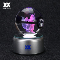 Hot Fashion Pokemon Go Engraving Round 3D Crystal Ball With Black Line Ball With LED Base