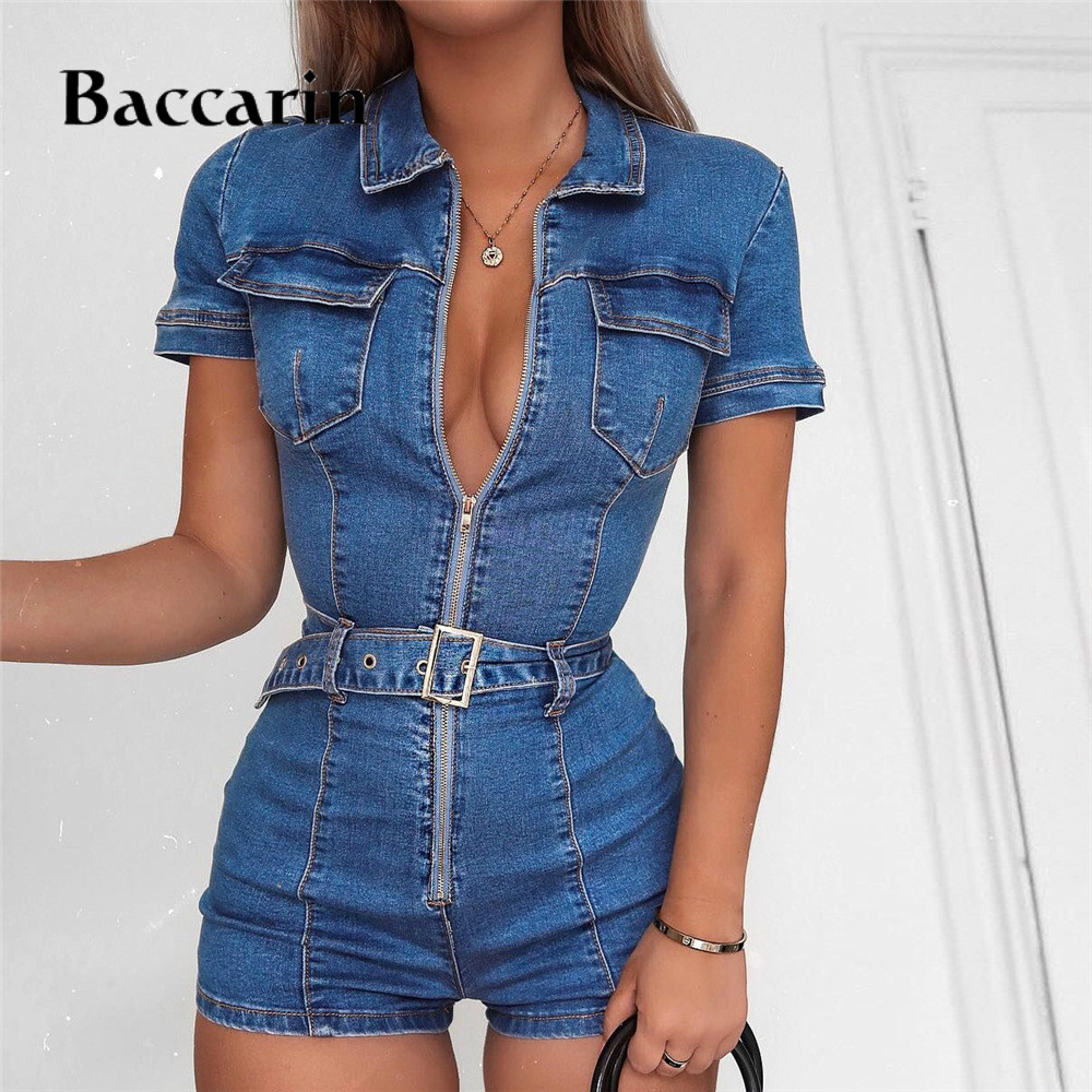 2019 Denim   Jumpsuit   Women Short Sleeve Turn Down Collar Playsuits Shorts Jeans Rompers with Belt Streetwear