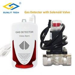 Детектор природного газа, домашний газовый датчик, горючий газовый монитор, сигнализация с DN15 соленоидным запорным клапаном для домашней б...
