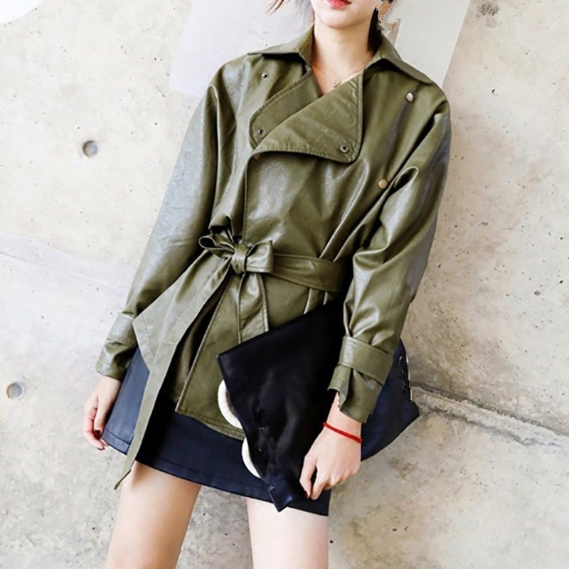 2018 New Autumn Winter Women Solid Color Pu   Leather   Coat Turn-Down Collar Slim Short Lace Up Shrink Waist Casual Jacket