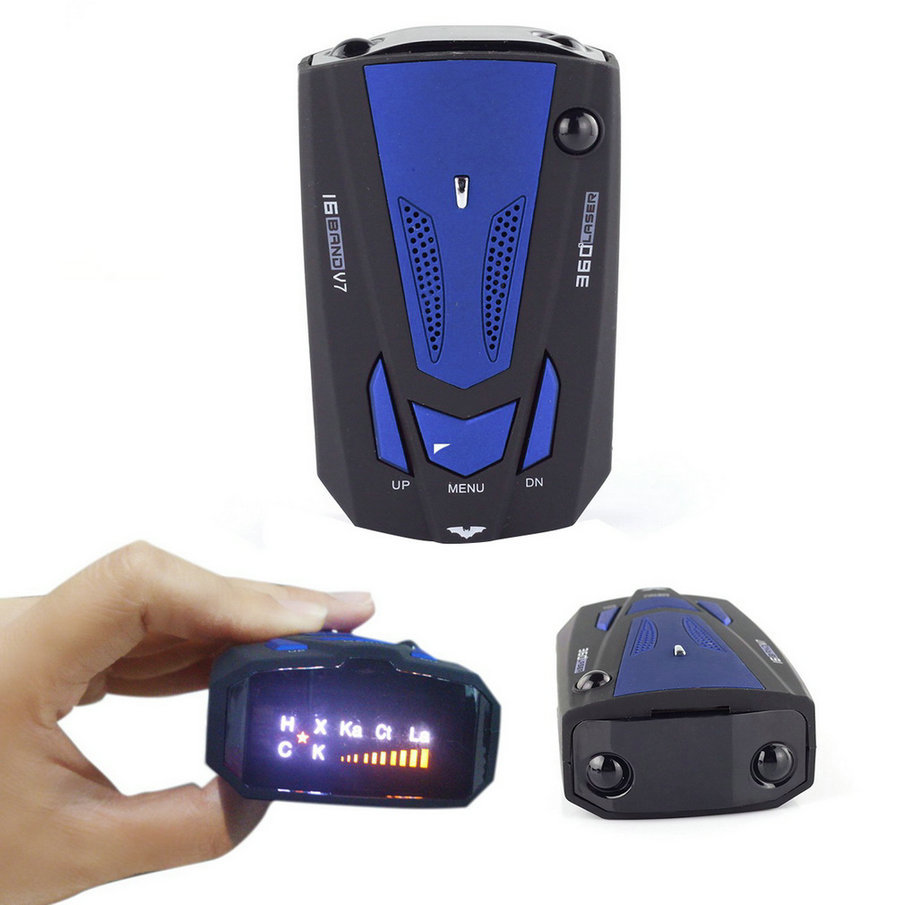 New Car Radar Detector 16 Band Voice Alert V7 Anti Laser Radar Detector LED Display Auto Detectors Voice Alert Warning