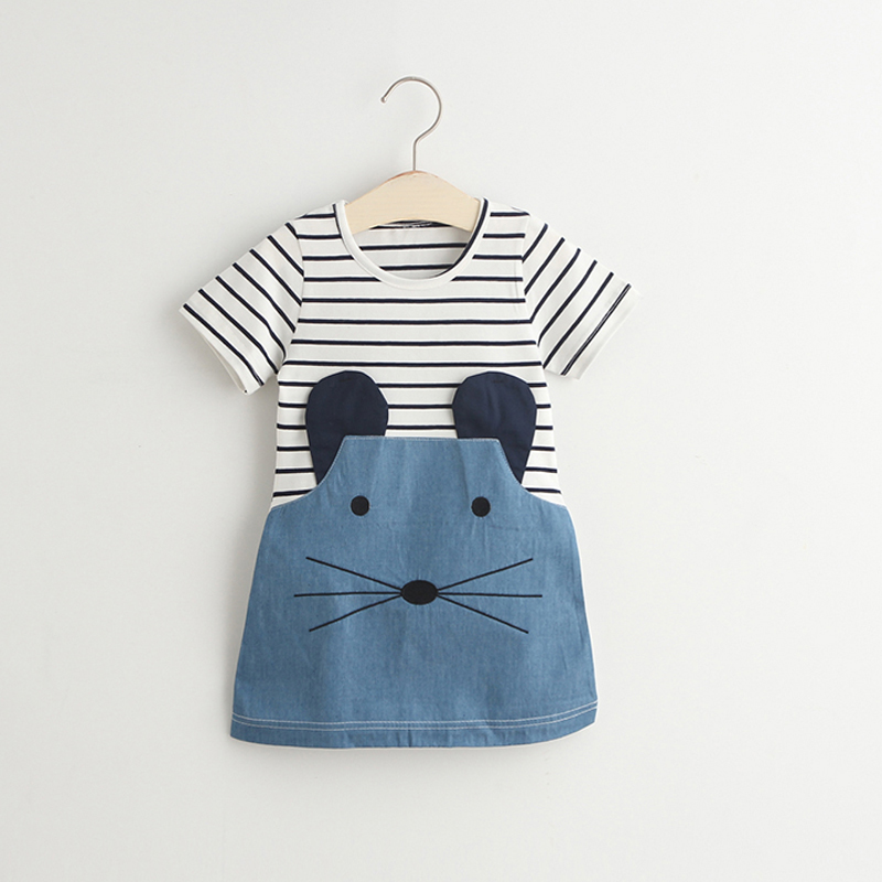 Lollas Striped Girl Dress Patchwork Girl Party Dresses Sleeve Cute Mouse Children Clothing Kids Casual Denim Dress For Girls striped patchwork character girl dresses long sleeve cute mous kids clothing girls dress denim spring summer children clothes
