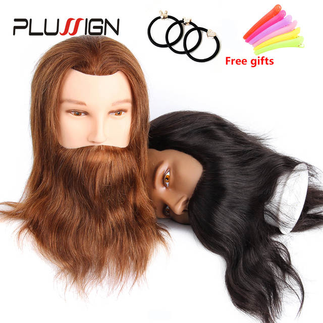 Cosmetology Male Mannequin Head 100% Real Human Hair Men Training Practice  Doll Hairdressing Manikin Head Model