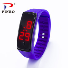 PINBO Hot Sale New Ultra Thin Men Girl women Fashion Watches Silicone ElectronicDigital LED Sports Wrist Watch water resistant