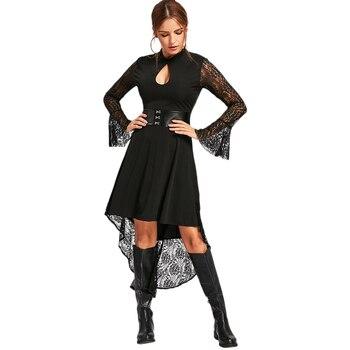 LANGSTAR 2017 New Fashion Lace Flare Long Sleeve High Low Semi Formal Dress Women Sexy Black Robe Vintage Autumn Dress Female semi formal summer dresses