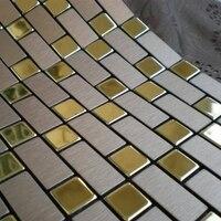 Prata mista cor dourada, fita auto adesiva De Alumínio painel composto de azulejos casa de banho, melhoramento da casa