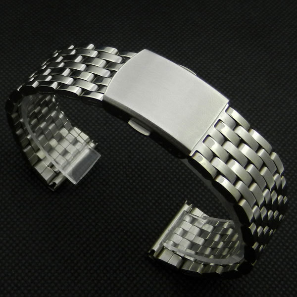 18mm Stainless Steel Wrist Watch Band With Fold Over Clasp With Push Bottom