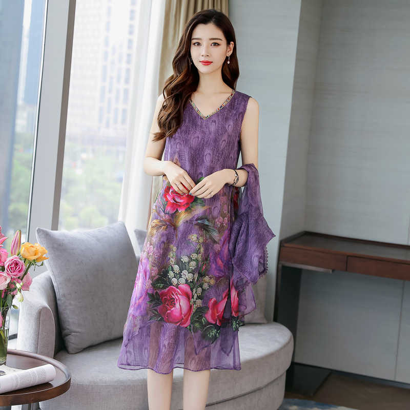 Ipek mor elbise kadınlar yaz 2 parça set takım elbise artı boyutu S-3xl 4xl 5xl parti elbiseler hırka zarif baskı çiçek kumaş