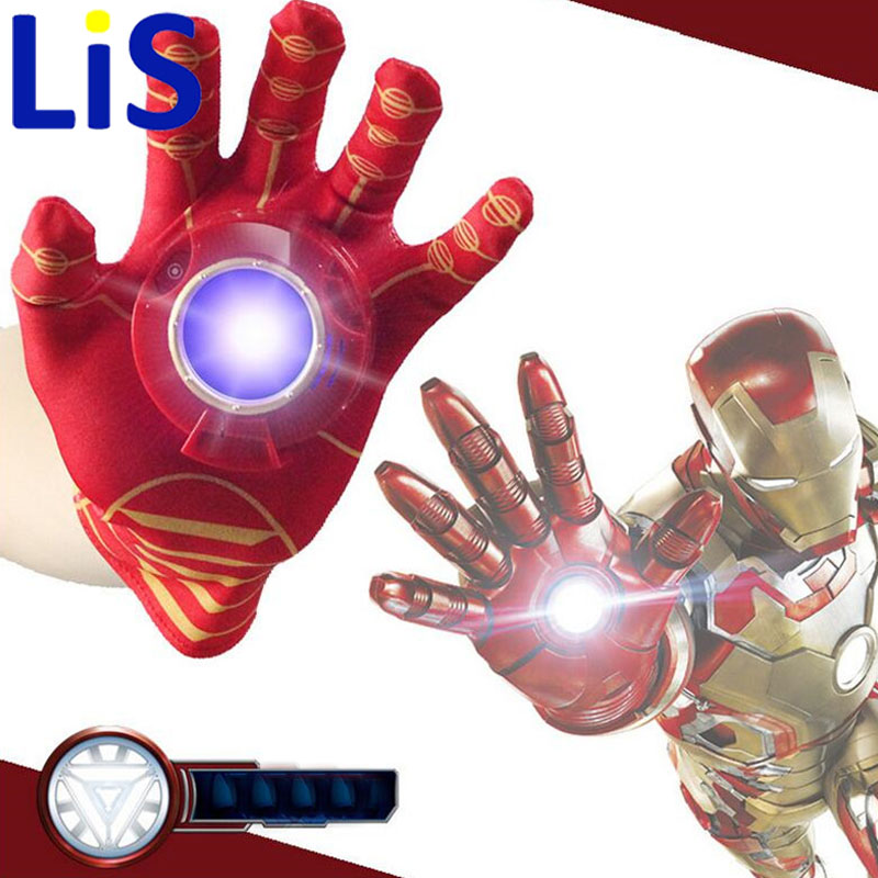 (Lis)2017 New iron Man Glove Action Figure Spider-Man launchers Toy Kids Suitable Spider Man Cosplay Costume music and LED light spider man new york stories