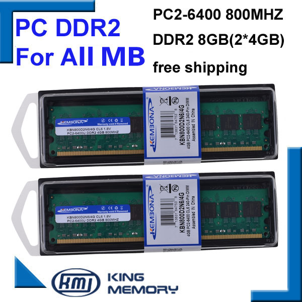KEMBONA pour Intel et pour A-M-D pc de bureau DDR2 8G (2XDDR2 4G) 800 MHZ 4 Gb memoria ram ddr2 4 Gb 800 Mhz ddr2 PC2-6400 mémoire RAM