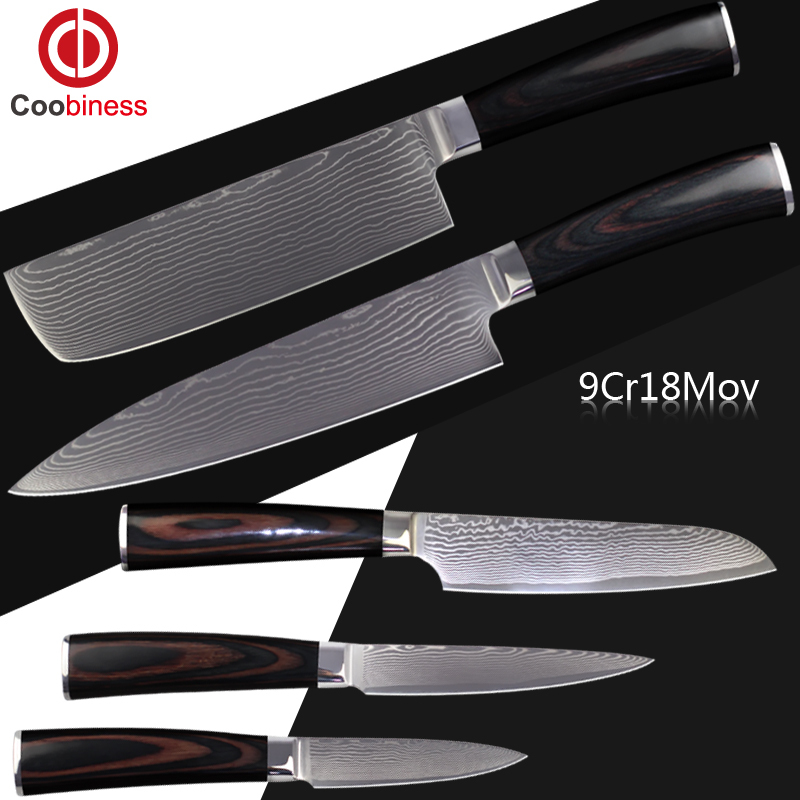 XYJ Brand New Kitchen Knives 5 Pcs Set Of Damascus Knives Color Wood Handle 9Cr18Mov Damascus