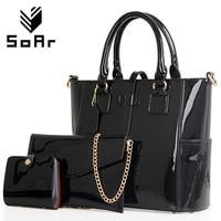 SoAr Women handbag luxury leather 2017 Women Bag Famous Brand Women Messenger Bags Chain Shoulder Bags 3 Sets Big Size Tote 1