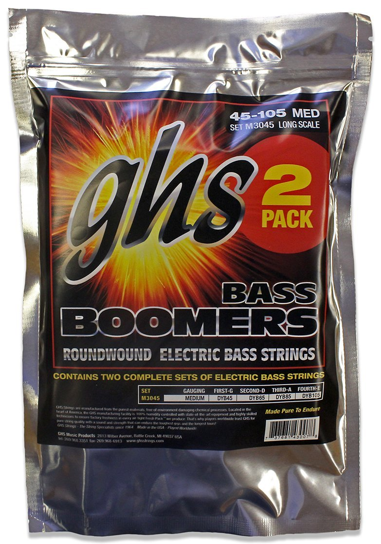 GHS Signature Boomers Long Scale Medium Electric Bass Strings 45-105, 2-Pack d addario etb92 tapewound bass medium 50 105