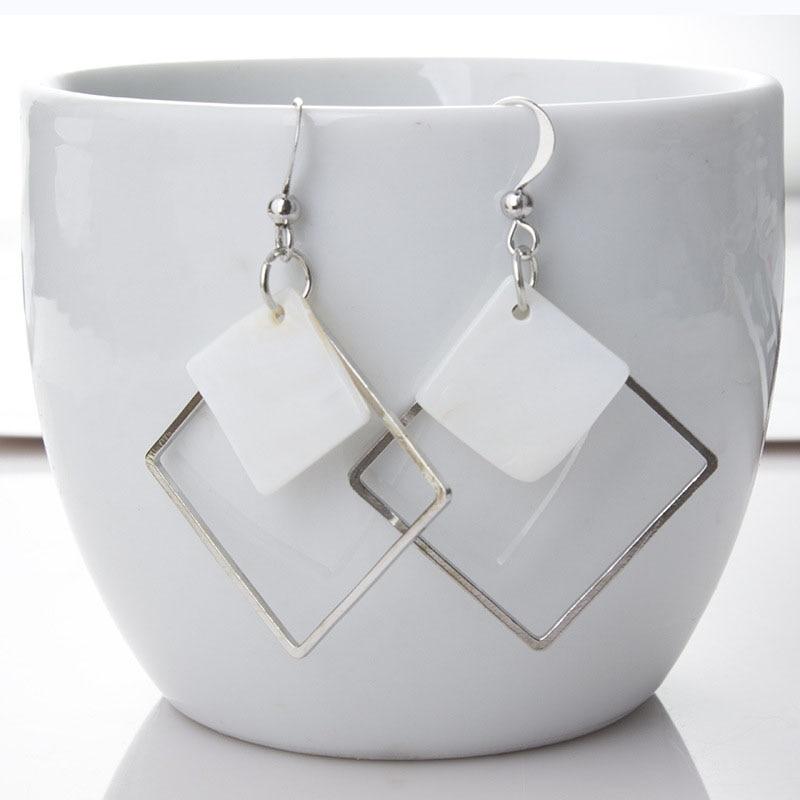 Punk White Shell Hollow Square Drop Earrings For Women Fashion Korean Minimalism Geometric Dangle Brincos Jewelry Gift EB960