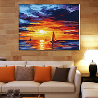 Special offer authentic DIY digital painting landscape hand painted decorative painting room sea sailing romantic sunset