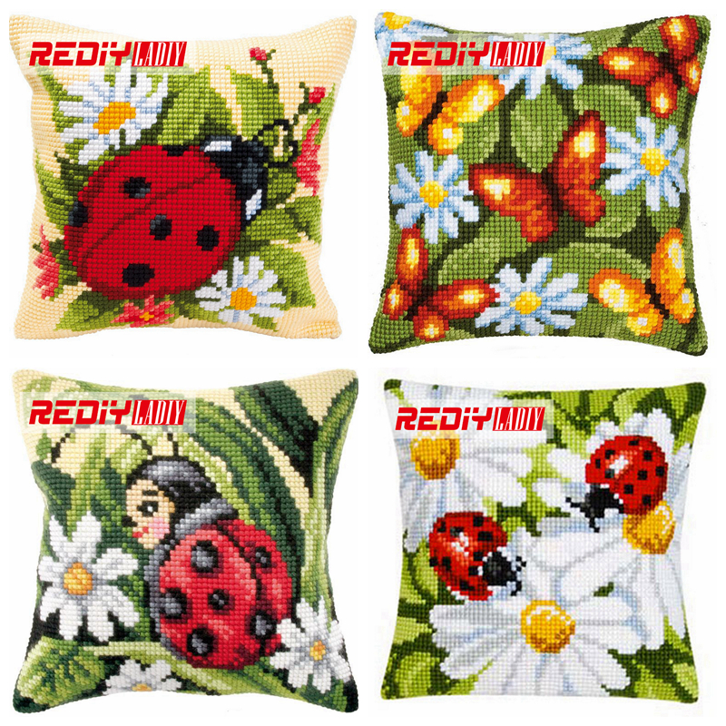 LADIY Cross Stitch Cushion Cover Yarn for Embroidery Cushions for Sofa Cross-Stitch Kits Daisy & Ladybird Decorative Pillow Case ral swatch