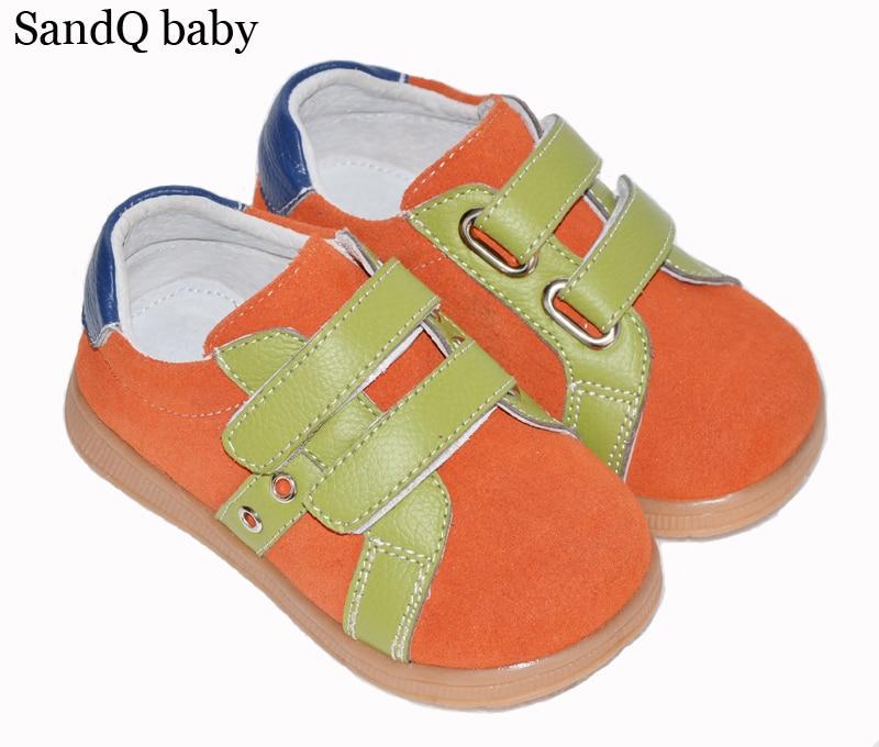 2017 جديد الفتيان أحذية الجلد المدبوغ البرتقال لربيع الخريف أطفال شقة أحذية chaussure zapato الأطفال sq الأخضر ضوء جيد صالح matchable
