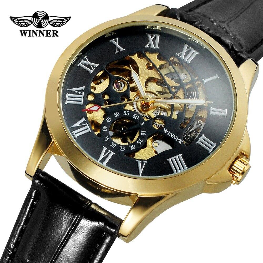af209df2d3e T-WINNER dos homens Clássico Relógio Automático de Couro Preto Esqueleto  Analógico Relógios De Pulso
