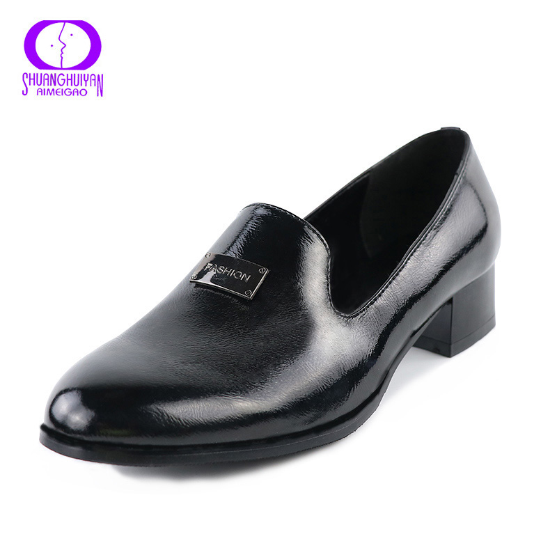 2017 New Medium Heel Shoes Woman Pumps Shoes Brand Square Heels PU Leather Office Lady Work Shoes Elegant Women Pumps Black selens pro 100x100mm 12nd square medium