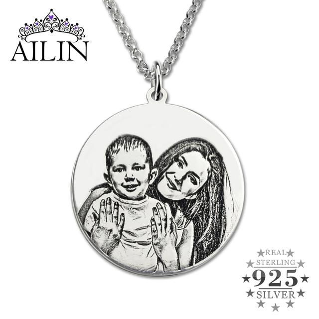 Grabado Collar de Plata Esterlina al por mayor de Fotos Personalizado Personalizado Foto Disco Back-Grabado Collar de Memoria Regalo para La Madre