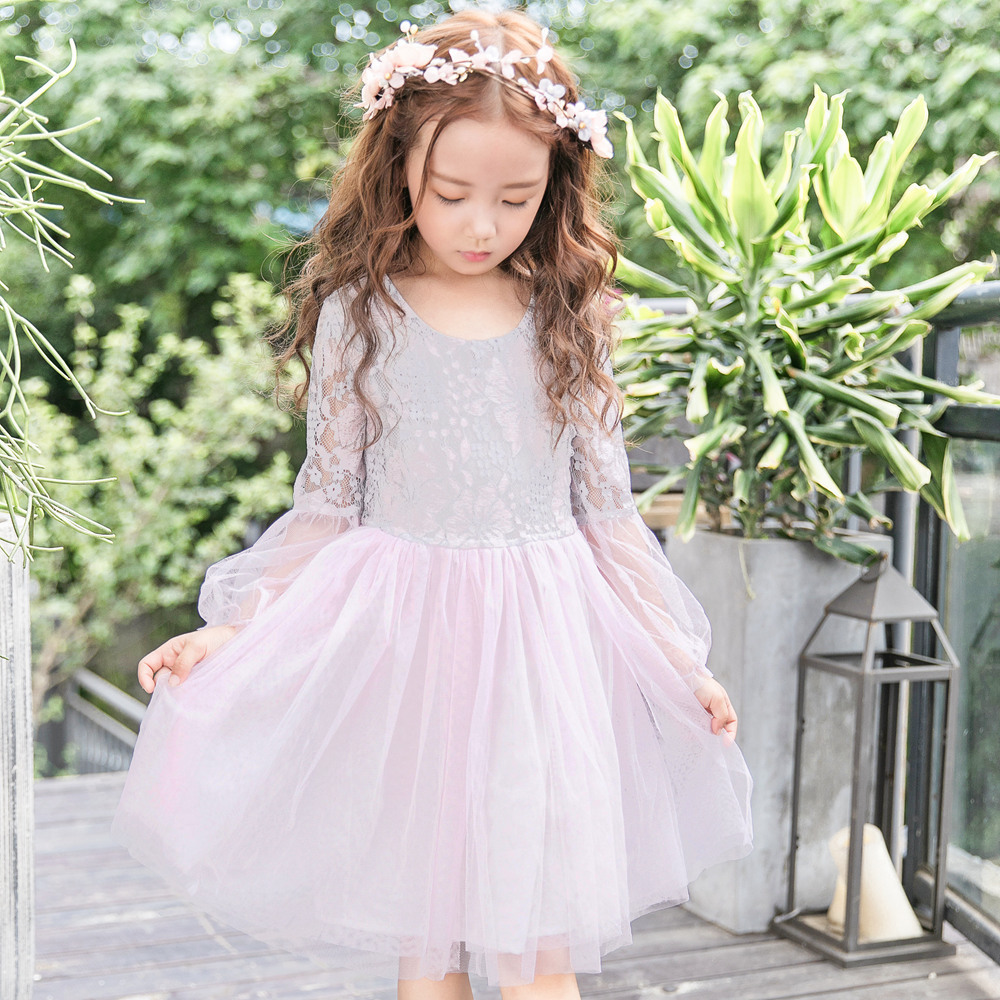Children Princess Dress Lace Mesh Floral Pattern Dresses for Girl Lantern Sleeve Cute Ball Gown Vestidos Knee-length Girls Dress все цены