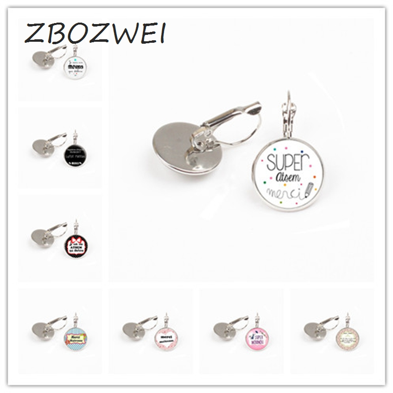 ZBOZWEI 2018 Merci maitresse earring holder fashion silver color glass metal earring for men women jewelry teachers gift