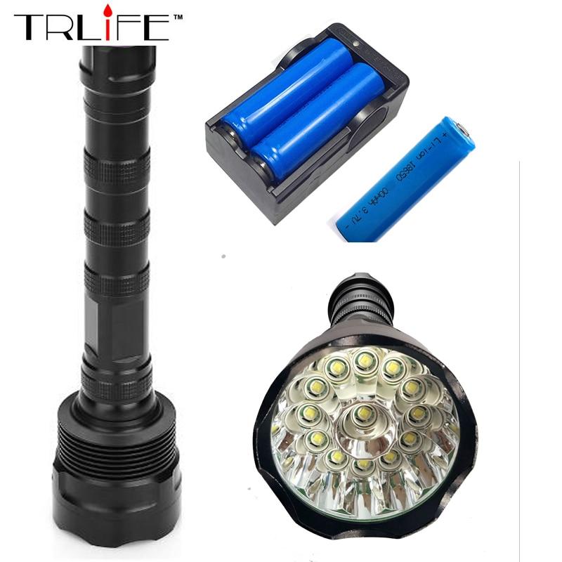 13T6 Torch LED Flashlight 60000 Lumens Lamp Lights 13 XM-L T6 Flash Light Floodlight Camping Lantern Hunting + 3x 18650 +Charger led 1600 lumens 3 mod zoomable fashlight t6 light 3 aaa 1 18650 rechargeable flash light head torch lantern lamp