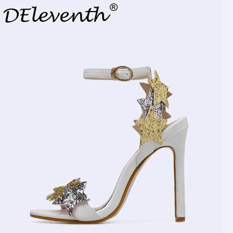 DEleventh Womens Sandals 2018 Summer Stiletto High Heels Sandal White Heels Sandals Women Concise Ladies Party Dress Pump Shoes