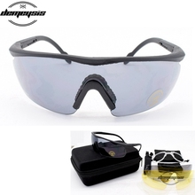 4Lenses Tactical goggles  Military Airsoft Tactical Glasses Durable  Hiking Eyewear Shooting  Goggles Hunting Sunglasses
