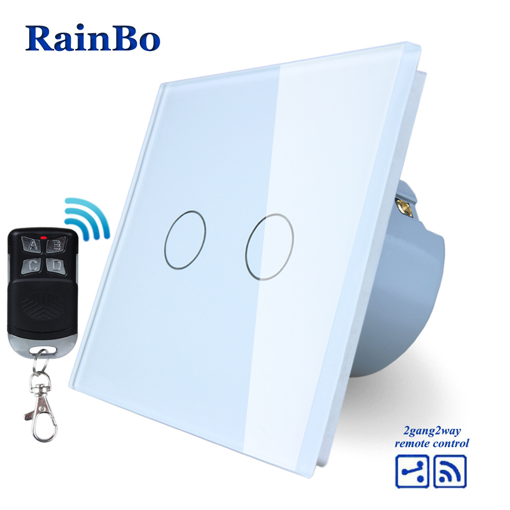 RainBo Brand Remote Touch Switch Screen Crystal Glass Panel wall switch EU 110~250V  all Light Switch 2gang2way A1924CW/BR01 rainbo touch switch screen crystal glass panel wall switch eu standard 110 250v wall light switch 2gang2way led lamp a1922xw b