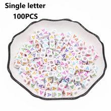 CHONGAI 100 шт. Акриловые Один Алфавит/буквенный куб, бусины смешанных цветов для самостоятельного изготовления ювелирных изделий, свободные бу...