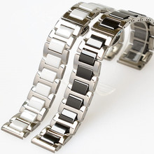 Stainless Steel Black and White Ceramic Watchband Three Pearl Belt Watch Accessories 16 18 20 mm