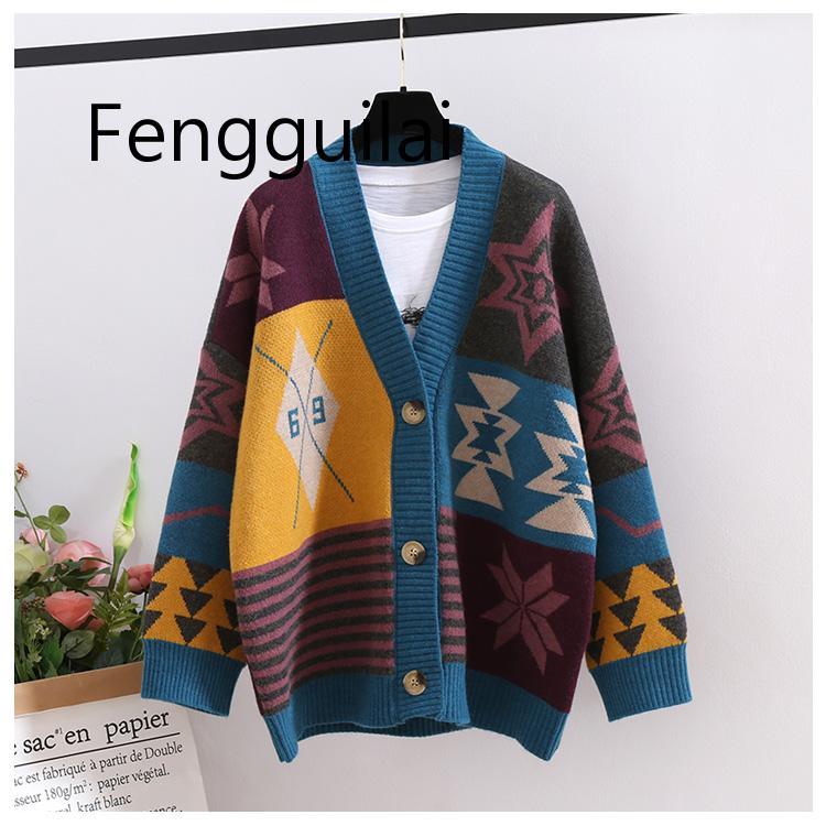 купить!  2019 Европейская женская мода длинный свитер кардиганы Vneck Vinatge Повседневная вязать джемперы дл