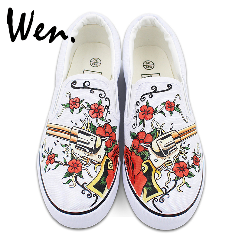 Wen Red Rose Flowers Gun Revolver Original Design White Slip on Hand Painted Shoes Mens Womens Canvas Sneakers for Gifts wen original hand painted shoes design rainbow color heart pattern pink slip on canvas sneakers gifts for girls women
