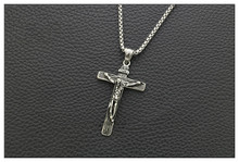Jesus Christian Cross Pendant Titanium Steel Men and Women Necklace Sweater Chain 50cm 60cm 70cm 80cm vintage cross anchor sweater chain for women