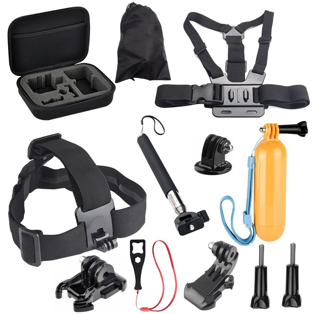 Action Video Cameras Accessory Set For Gopro Hero 5 4 3+ 3 2 H9R F60R W9R Yi 4K SJ4000 SJ6 SJ7 With Head Strap Floating Stick(China)
