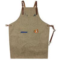 Brown Denim Bib Apron W Y Leather Strap Barber Barista Florist Chef Baker Bartender Uniform Carpenter
